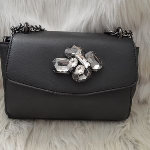 ALDO Black Crossbody Bag with Embellished Stones